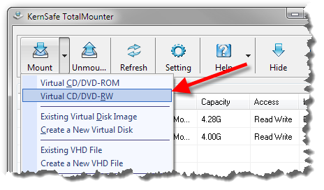 Virtuellen DVD-Brenner einbinden - Schritt 1