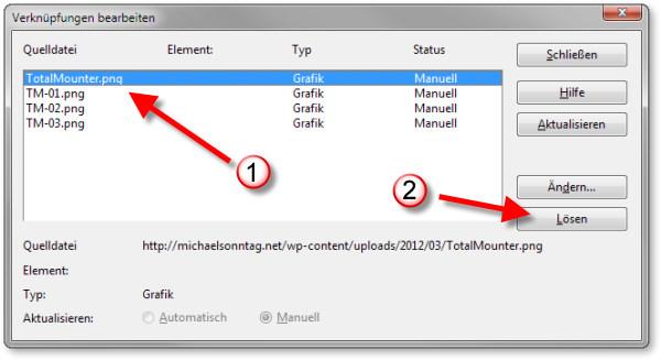 LibreOffice OpenOffice - Verknüpfung lösen