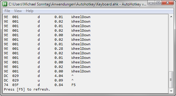 Autohotkey Key history