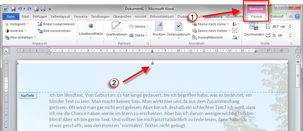 hintergrundbild in word 2010 einf gen office tipps tools. Black Bedroom Furniture Sets. Home Design Ideas