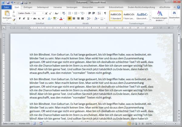 Word 2010 Seite mit Hintergrund