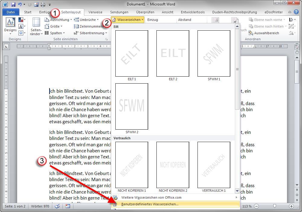 Word 2010: Seitenlayout > Benutzerdefiniertes Wasserzeichen wählen