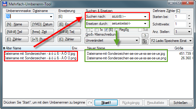 Total Commander (Mehrfach-Umbenenn-Tool) - websichere Dateinamen