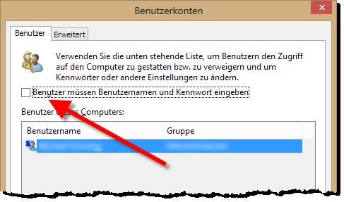 Windows 8 - Passwörter abschalten - Abfrage abhaken