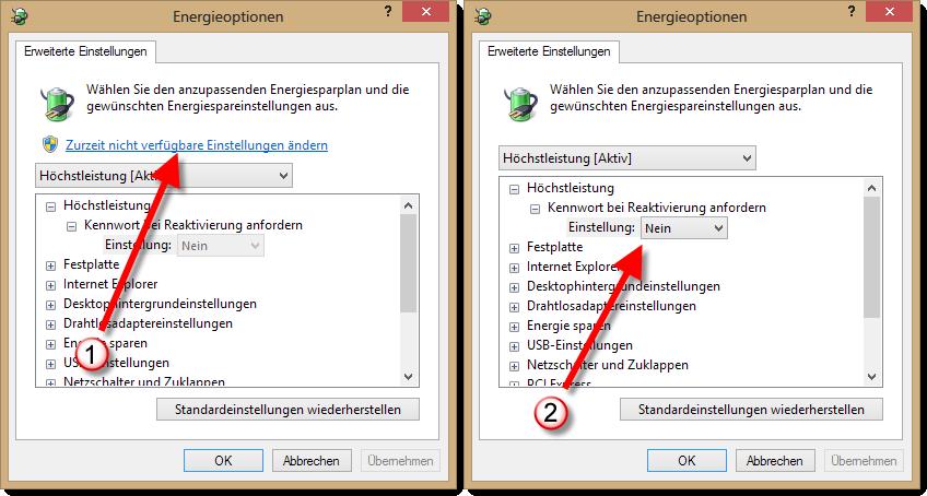 Windows 8 - Passwörter abschalten - Energieoptionen freigeben