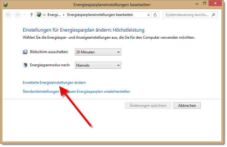 Windows 8 - Passwörter abschalten - Energiesparplan ändern