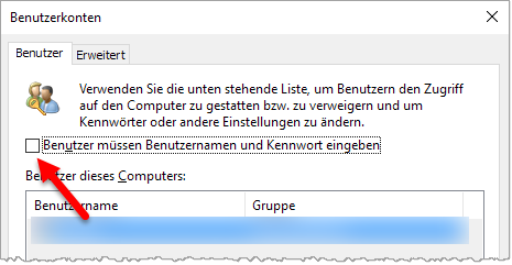 Windows 10 - Passwortabfrage abschalten
