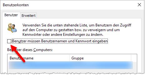 Windows 10 - Passwortabfrage abschalten