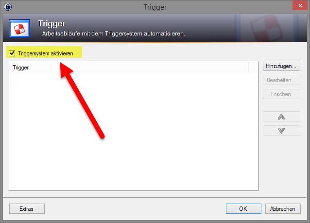 Triggersystem aktivieren, damit eine eigene Schaltfläche hinzugefügt werden kann