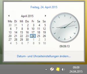 Hohe Taskleiste mit Datum