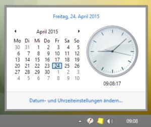 Schmale Taskleiste ohne Datum