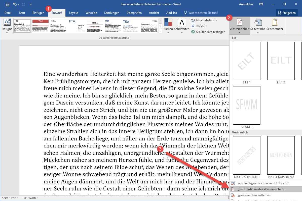 Hintergrundbild In Word 2016 Einfügen Office Tipps Tools